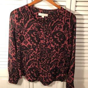 Loft Petites long sleeve sheer blouse